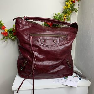 Balenciaga Plum Agneau Hobo Bag